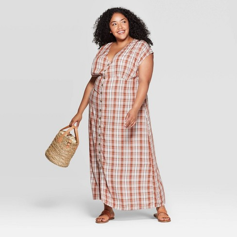 Women\'s Plus Size Plaid Short Cap Sleeve V-Neck Column Maxi Dress -  Universal Thread™ White 3X