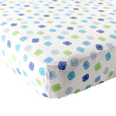 Luvable Friends Unisex Baby Fitted Crib Sheet - Blue Geometric One Size
