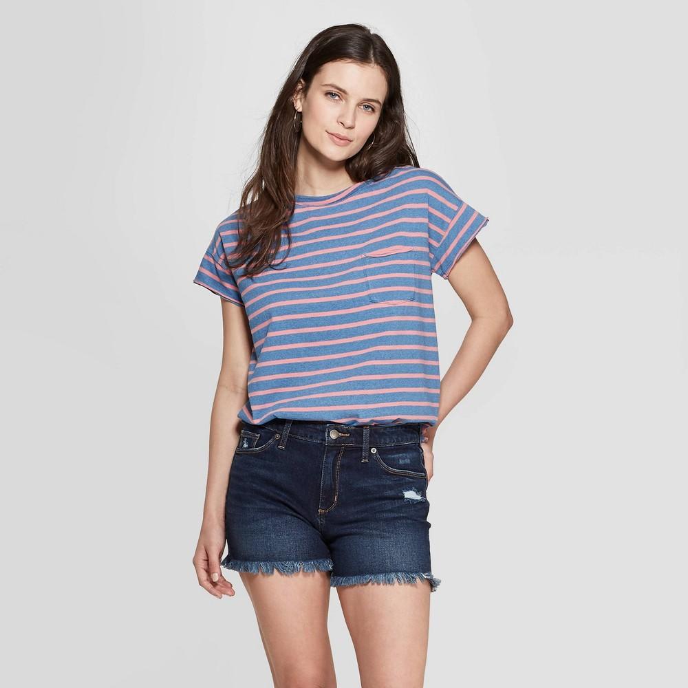 Women's Striped Short Sleeve Crewneck Raw Hem Relaxed T-Shirt - Universal Thread Coral L, Pink