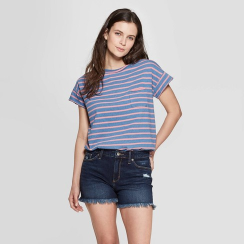3904458d Women's Striped Short Sleeve Crewneck Raw Hem Relaxed T-Shirt - Universal  Thread™ Coral