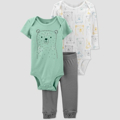 Baby Boys' 3pc Bear Top & Bottom Set - Just One You® made by carter's Green/White/Gray 6M
