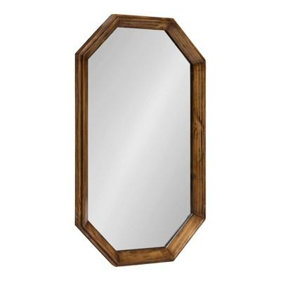 "19"" x 31"" Abernathy Framed Octagon Wall Mirror Walnut Brown - Kate and Laurel"