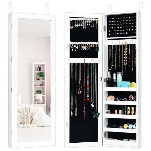 Costway Door Mounted Mirrored Jewelry, Jewelry Cabinet Wall Mounted Mirrored Armoire Storage Organizer