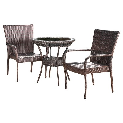 Littleton 3-Piece Wicker Patio Bistro Seating Set - Brown - Christopher Knight Home