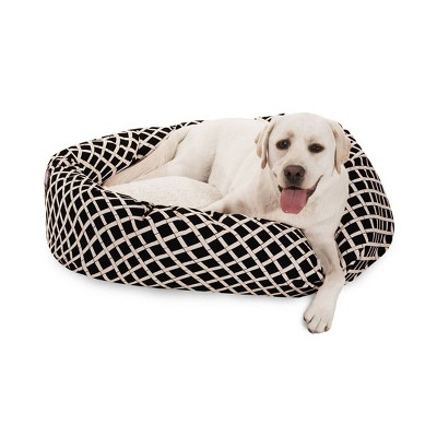 Majestic Pet Bamboo Sherpa Bagel Dog Bed - Black - Large