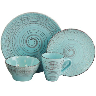 16pc Stoneware Tropical Breeze Dinnerware Set Blue - Elama