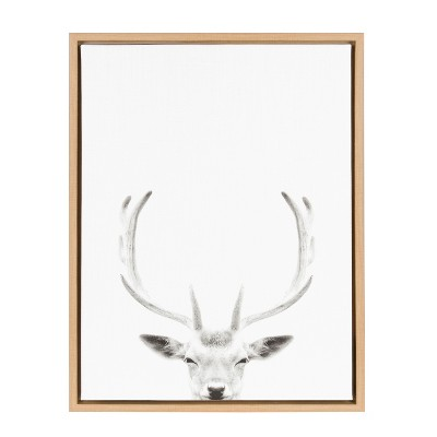 Kate & Laurel 24 x18  Sylvie Deer with Antlers And Portrait By Simon Te Tai Framed Wall Canvas Wood