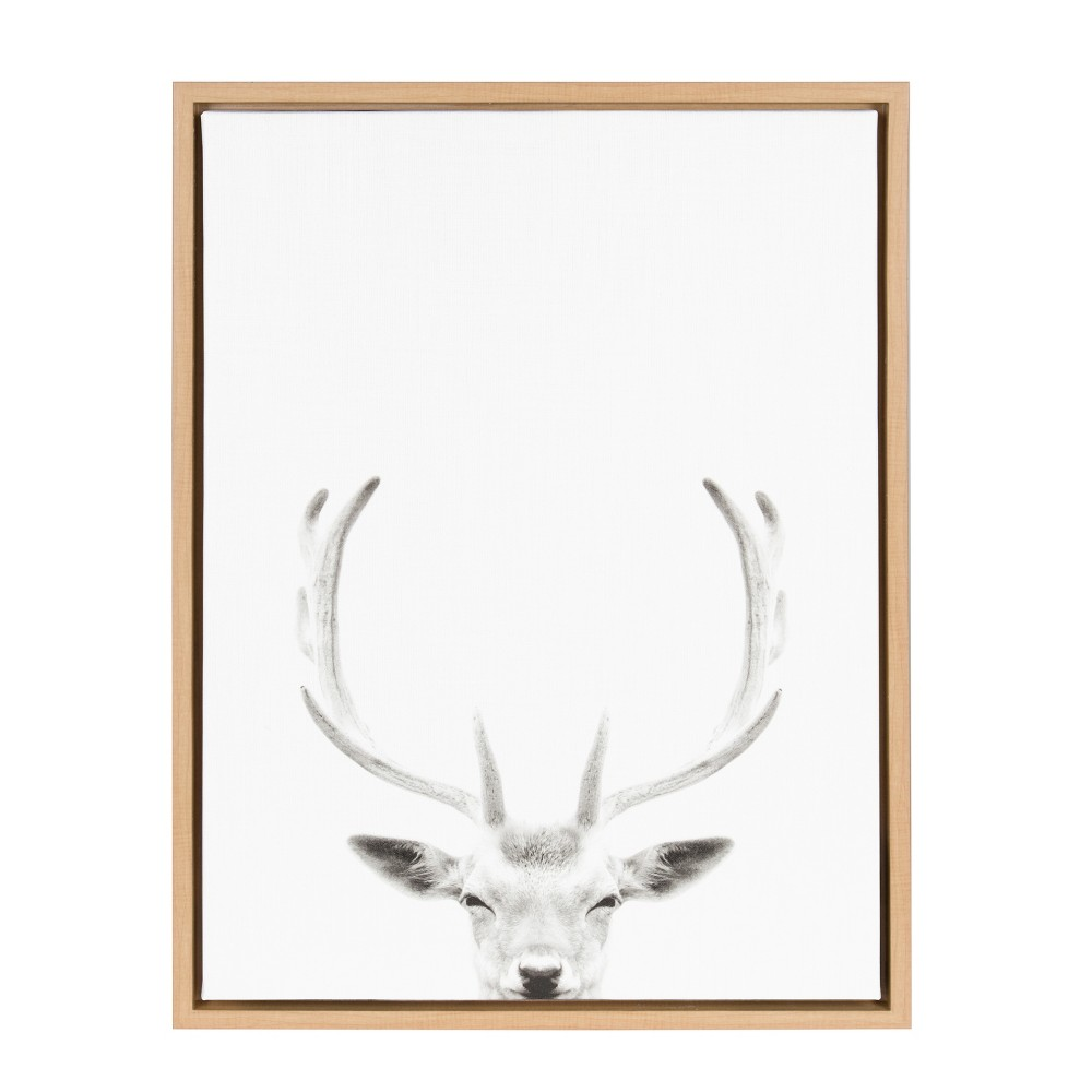 "Image of ""Kate & Laurel 24""""x18"""" Sylvie Deer with Antlers And Portrait By Simon Te Tai Framed Wall Canvas Wood, Brown"""