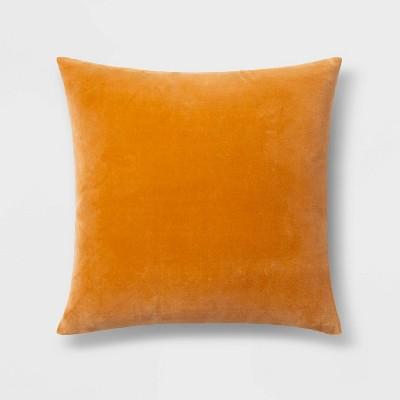 Velvet Square Pillow Orange - Threshold™