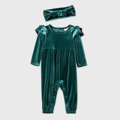 Baby Girls' Velour Ruffle Long Sleeve Romper - Cat & Jack™ Green Newborn