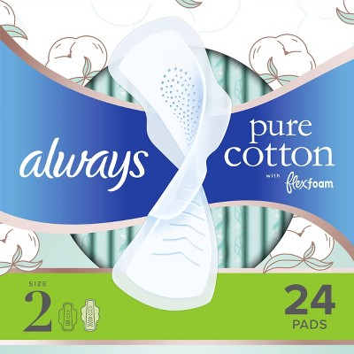 Always Pure Cotton with Wings Size 2 Heavy Unscented - 24ct