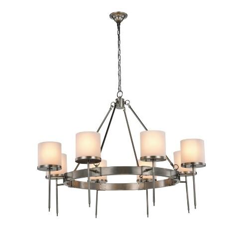 Elegant Lighting 1504g45 Bradford 8 Light 45 Wide Pillar Candle Style Chandelier Vintage Nickel