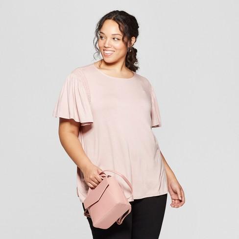 93212af7fce Women s Plus Size Short Sleeve Crew Neck Smocked Detail Knit T-Shirt - Ava    Viv™