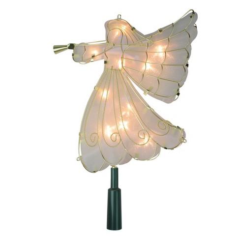 Kurt S Adler 9 5 Lighted Gold Angel Silhouette Christmas Tree Topper Clear Lights Target