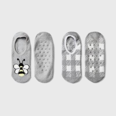 Women's Bee Cozy 2pk Liner Socks - Gray 4-10