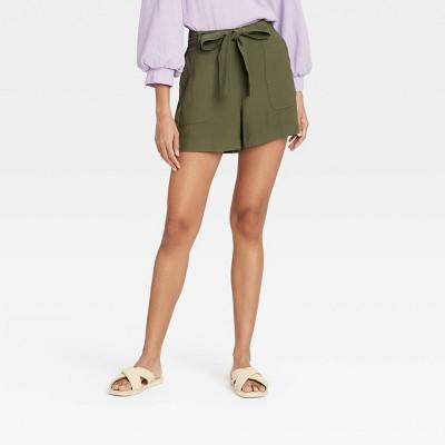 Women's High-Rise Tie Waist Shorts - A New Day™