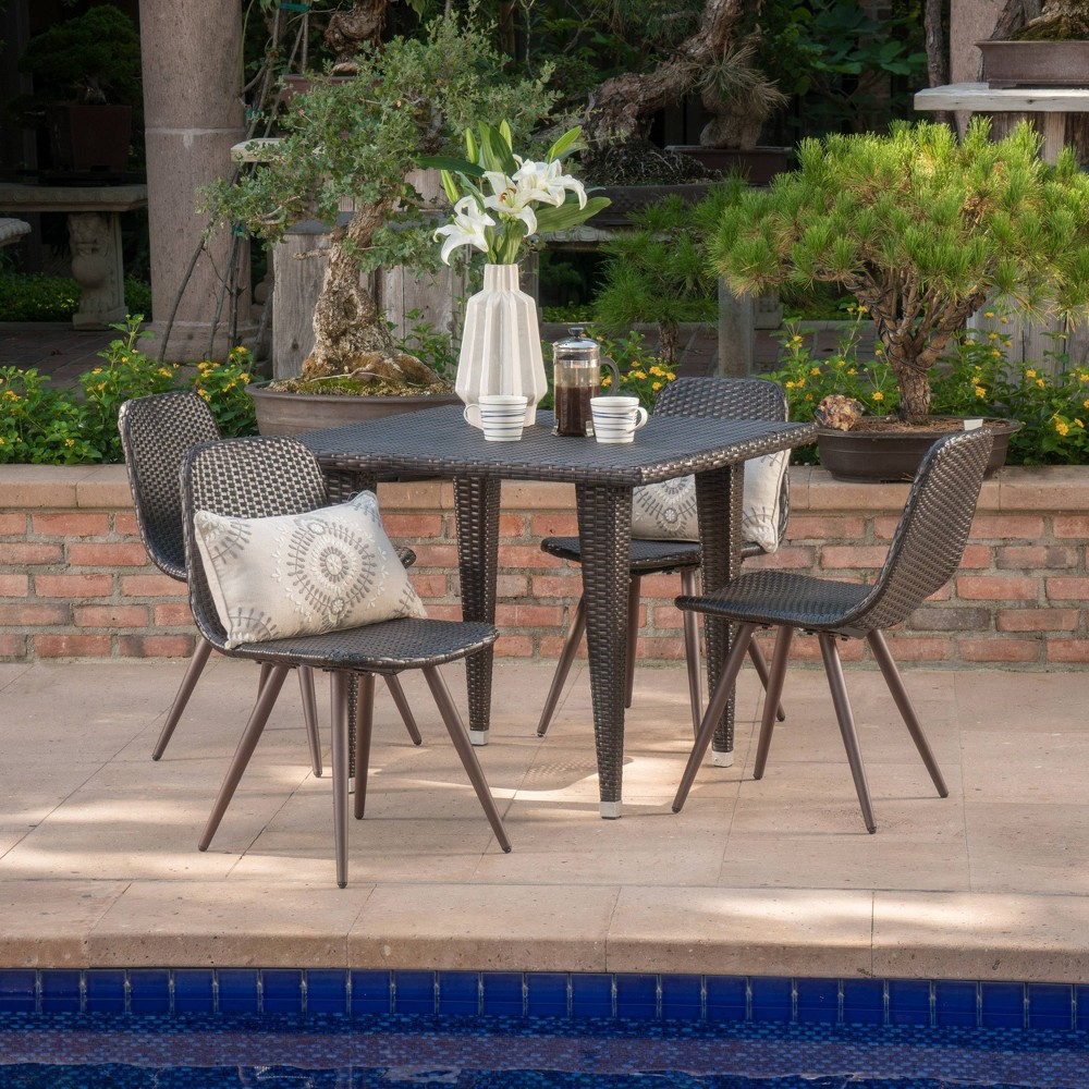 Tongass 5pc Wicker Patio Dining Set - Brown - Christopher Knight Home