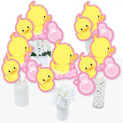Big Dot of Happiness Pink Ducky Duck - Baby Shower or Birthday Party Centerpiece Sticks - Table Toppers - Set of 15