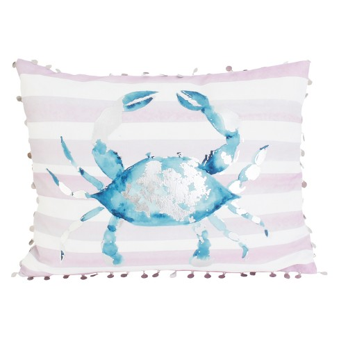 "Décor Therapy 14""x18"" Tulum Crab Throw Pillow White/Blue - image 1 of 1"