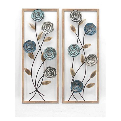 35.4  2pc Framed Florals III Alternative Transitional Decorative Wall Art Gray - StyleCraft