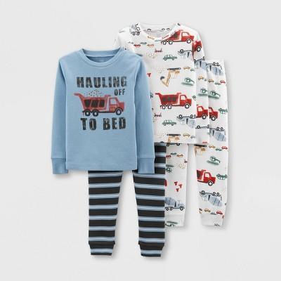 Baby Boys' 4pc Construction Snug Fit Pajama Set - Just One You® made by carter's Blue/White 12M