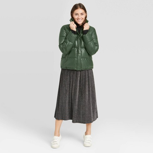 Women's Leather Puffer Jacket - A New Day™ Green - image 1 of 3
