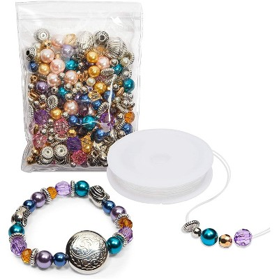 Bright Creations Beads for Jewelry Making Kit DIY Charm Bracelet Making Kit with Elastic