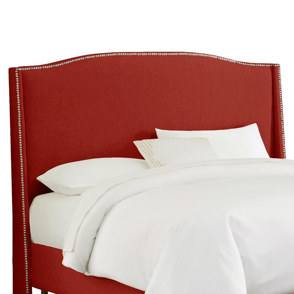 California King Palermo Nailbutton Wingback Linen Headboard Antique Red - Skyline Furniture