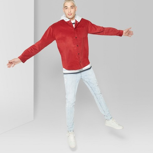 569d3909774 Men s Casual Fit Long Sleeve Corduroy Hooded Button-Down Shirt - Original  Use™ Majesty Red
