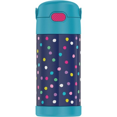 Thermos 12oz FUNtainer Water Bottle with Bail Handle - Polka Dot Blue