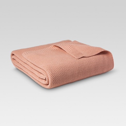 Twin Sweater Knit Bed Blanket Coral  - Threshold™ - image 1 of 1