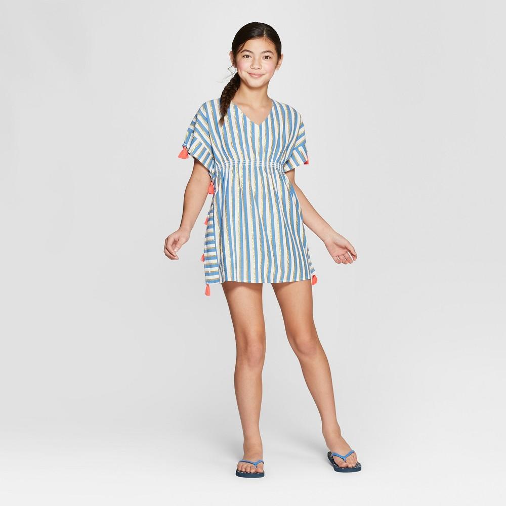 Girls' Stripe Tassel Cover Up - Cat & Jack Blue S