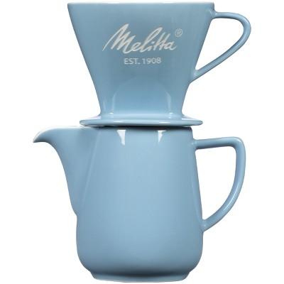 Melitta Porcelain Pour-Over Carafe Set with Cone Brewer and Carafe - Pastel Blue