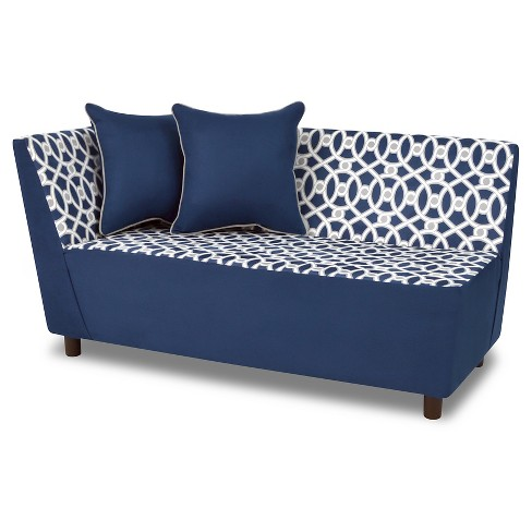 Tween Chaise With 2 Pillows Loopy Navy Pebbles Gray White Kangaroo Trading Co