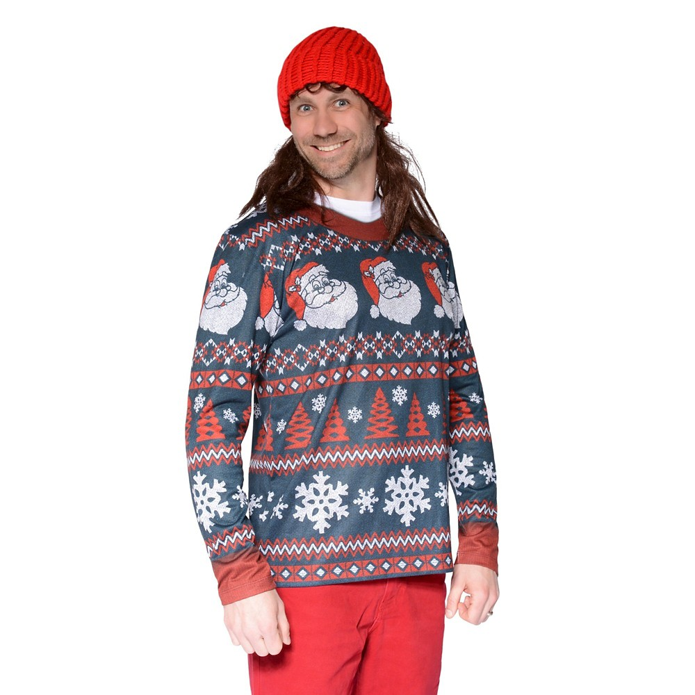 Men's Ugly Christmas Costume Sweater Santa Stripe, Long Sleeve T-Shirt - Small, Multicolored