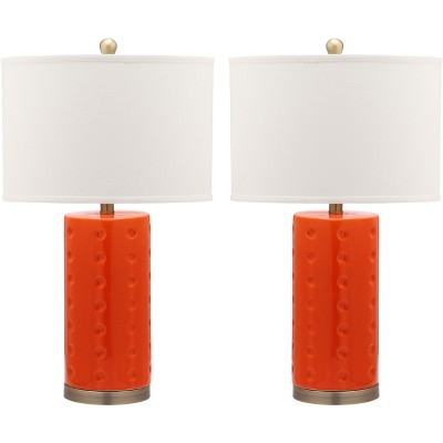 "(Set of 2) 26"" Roxanne Table Lamp Orange (Includes CFL Light Bulb) - Safavieh"