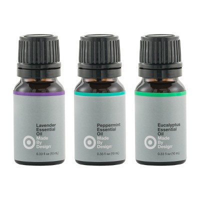 .33 fl oz 3pk Essential Oil Starter Set Lavender/Peppermint/Eucalyptus - Made By Design™