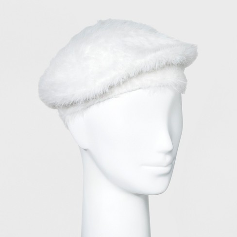 Women's Faux Fur Beret Hat - A New Day™ Cream - image 1 of 1