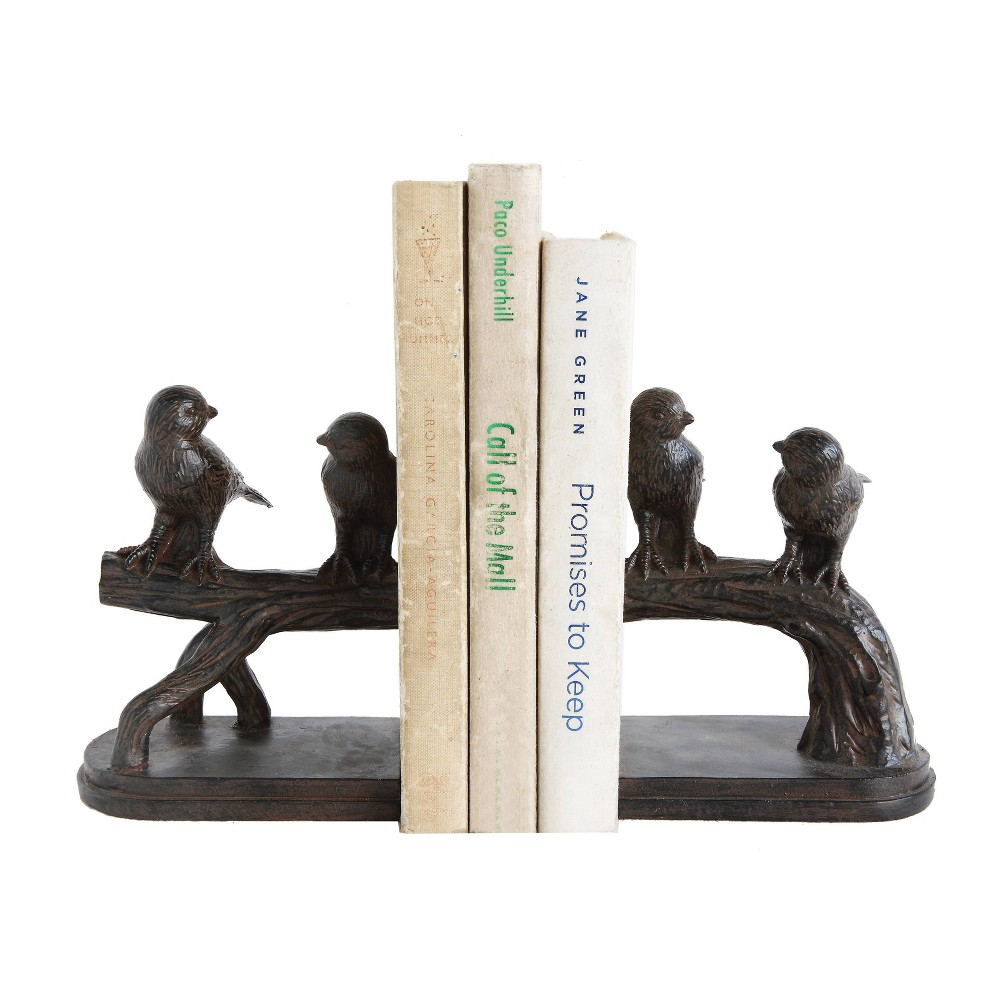 "Image of ""6.2"""" x 5"""" 2pc Bird on Branch Resin Bookend Set Black - 3R Studios"""