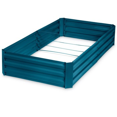 "Corrugated Metal Powder-coated steel Raised Bed, 34"" x 68"" - blue - Gardener's Supply Company"