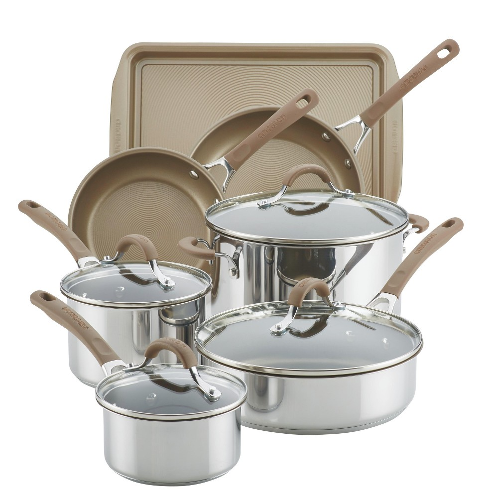 Image of Circulon Innovatum 10pc Hard-Anodized Nonstick Cookware Set + Bonus Cookie Pan Champagne