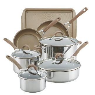 Circulon Innovatum 10pc Hard-Anodized Nonstick Cookware Set + Bonus Cookie Pan Champagne