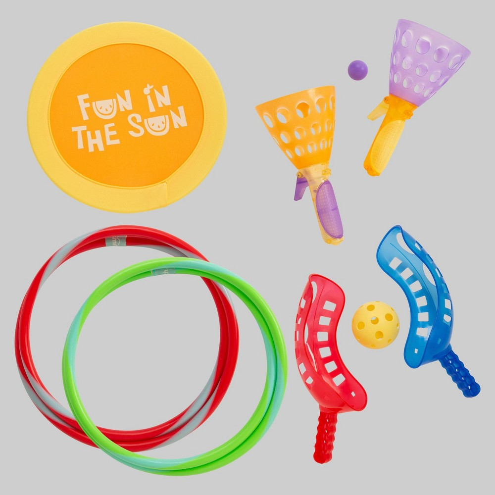 5pk Kids Outdoor Toys - Toysmith Take it outside with this assortment of easy to pick up and play toys! Exercise motor skills and hand-eye coordination with these timeless toys including a hoop that unloops for east storage, racket and ball catch sets, a click toss and catch basket and a far-flying 16 fabric flinger.