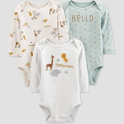 Baby 3pk Safari Bodysuit - Just One You® made by carter's Green/Gray/Beige Newborn