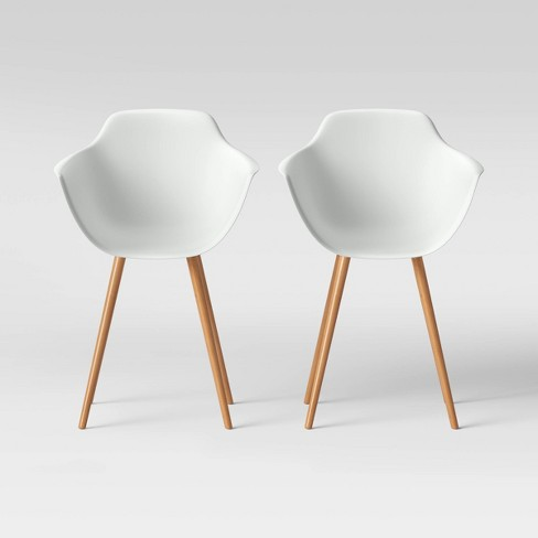 Set of 2 Miller Barrel Dining Chair with Wooden Legs White - Project 62™ - image 1 of 4
