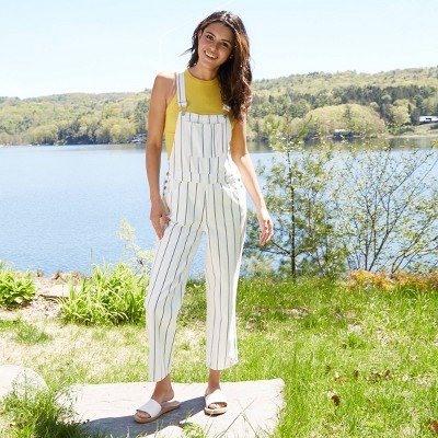 Women's Striped High-Rise Straight Fit Overalls  - Universal Thread™ White
