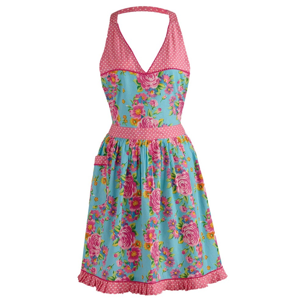 10 Things to Do with Vintage Aprons Floral And Pink Polka Dot Vintage Apron - Design Imports Blue $39.99 AT vintagedancer.com