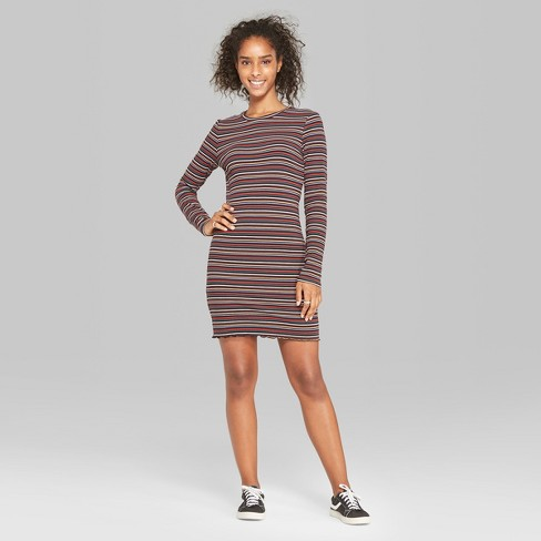92833135ce10 Women's Plus Size Striped Long Sleeve Ribbed Knit Dress - Wild Fable™ Pink