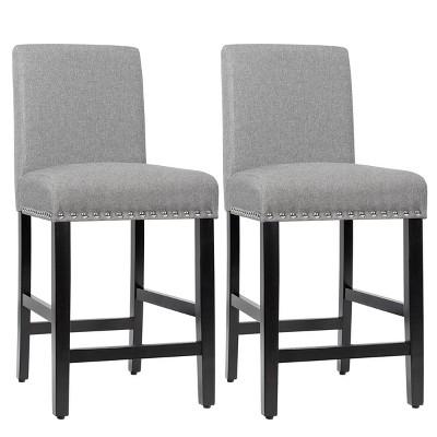 Costway Set of 2 25'' Kitchen Breakfast Chairs Nailhead Bar Stools Beige\Gray