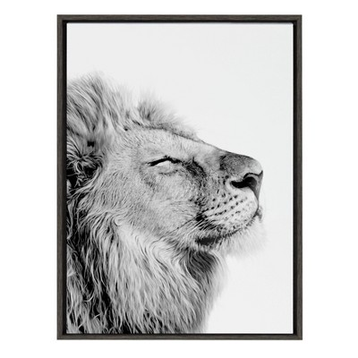 """23"""" x 33"""" Sylvie Self Actualization Lion Framed Canvas Wall Art by Amy Peterson Gray - Kate and Laurel"""
